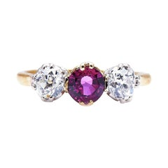 Antique, Edwardian, 18ct Gold, Platinum, Ruby and Diamond Three-Stone Ring