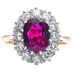 Antique, Edwardian, 18 Carat Gold, Rare 3 Carat Ruby and Diamond Cluster Ring