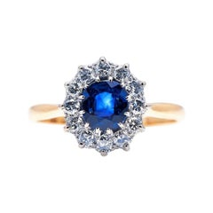Antique, Edwardian, 18ct Gold, Sapphire and Diamond Cluster Ring