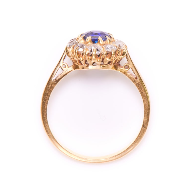 Edwardian Engagement Rings For Sale: Antique, Edwardian, 18 Carat Gold Sapphire And Diamond
