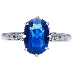 Antique, Edwardian, 18 Carat White Gold, Burmese Sapphire and Diamond Ring