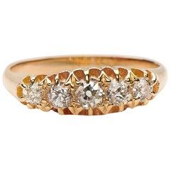 Antique, Edwardian, 18 Carat Gold, Five-Stone Old Cut Diamond Engagement Ring