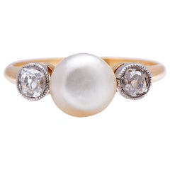 Antique, Edwardian, 18ct Yellow Gold, Natural Pearl and Diamond Three-Stone Ring