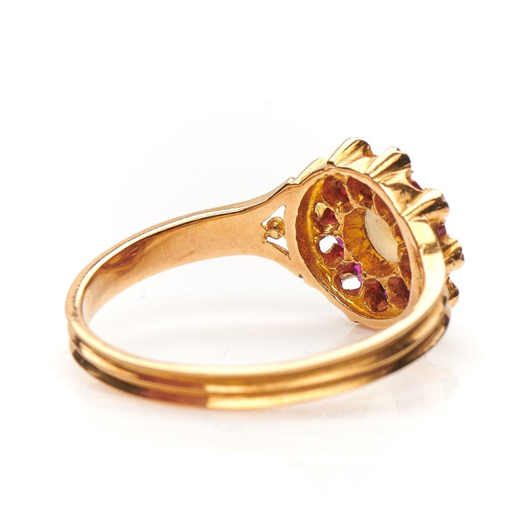 Old European Cut Antique, Edwardian, 18 Carat Yellow Gold, Ruby, Diamond and Pearl Cluster Ring For Sale