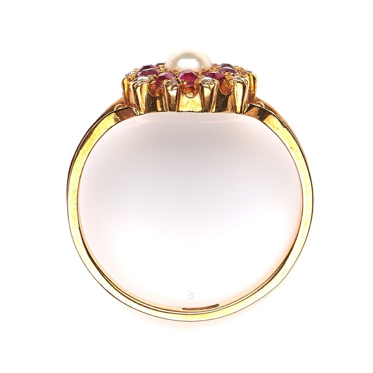 Antique, Edwardian, 18 Carat Yellow Gold, Ruby, Diamond and Pearl Cluster Ring In Excellent Condition For Sale In Rochford, Essex