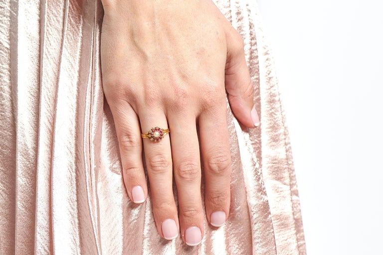 Women's Antique, Edwardian, 18 Carat Yellow Gold, Ruby, Diamond and Pearl Cluster Ring For Sale