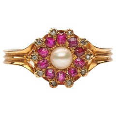Antique, Edwardian, 18 Carat Yellow Gold, Ruby, Diamond and Pearl Cluster Ring