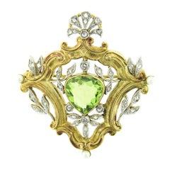 Antique Edwardian 18k Gold Platinum Top GIA Peridot Pearl & Diamond Leaf Brooch