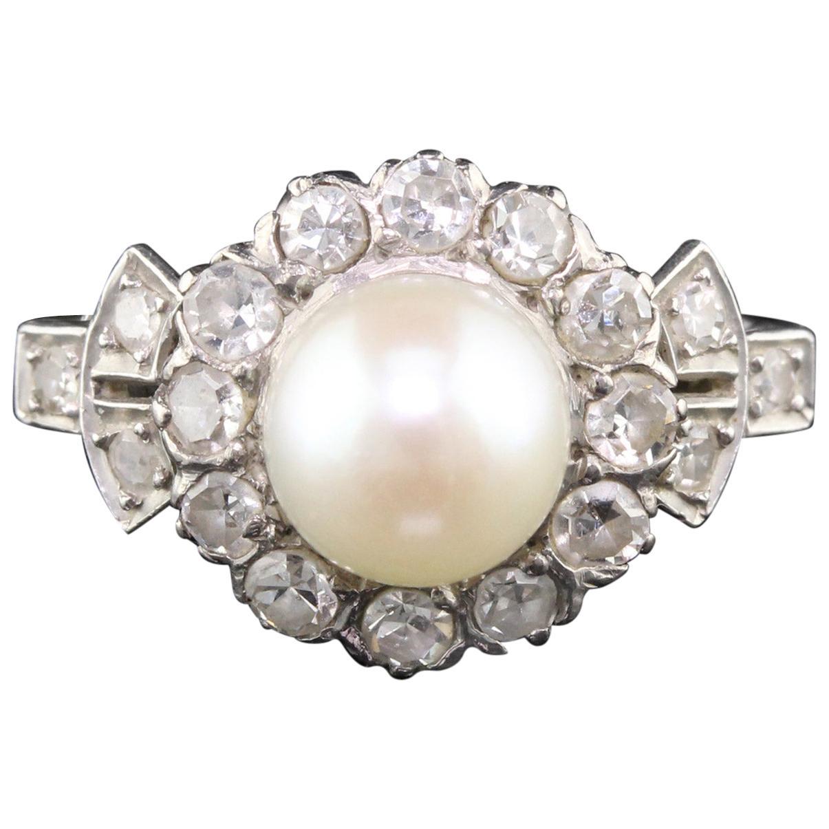 Antique Edwardian 18 Karat White Gold, Platinum, Pearl and Diamond Ring