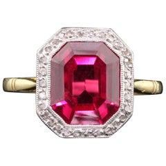 Antique Edwardian 18 Karat Gold French Synthetic Ruby and Diamond Cocktail Ring