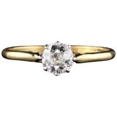 Antique Edwardian 18 Karat Gold Platinum Top Solitaire Diamond Engagement Ring