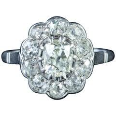 Antique Edwardian 1.90 Carat Diamond Cluster Ring 18 Carat White Gold circa 1915