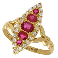 Antique Edwardian 1900s Ruby Diamond Gold Marquise Ring