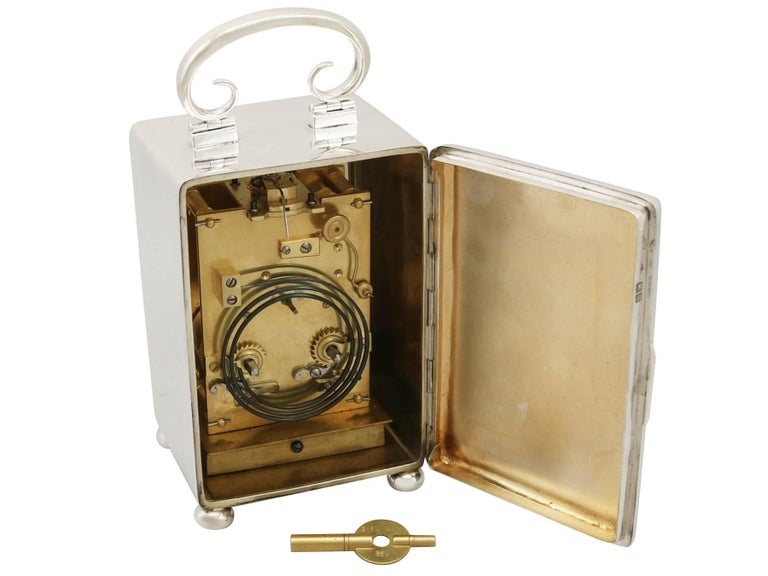 Early 20th Century Antique Edwardian 1900s Sterling Silver Carriage Clock