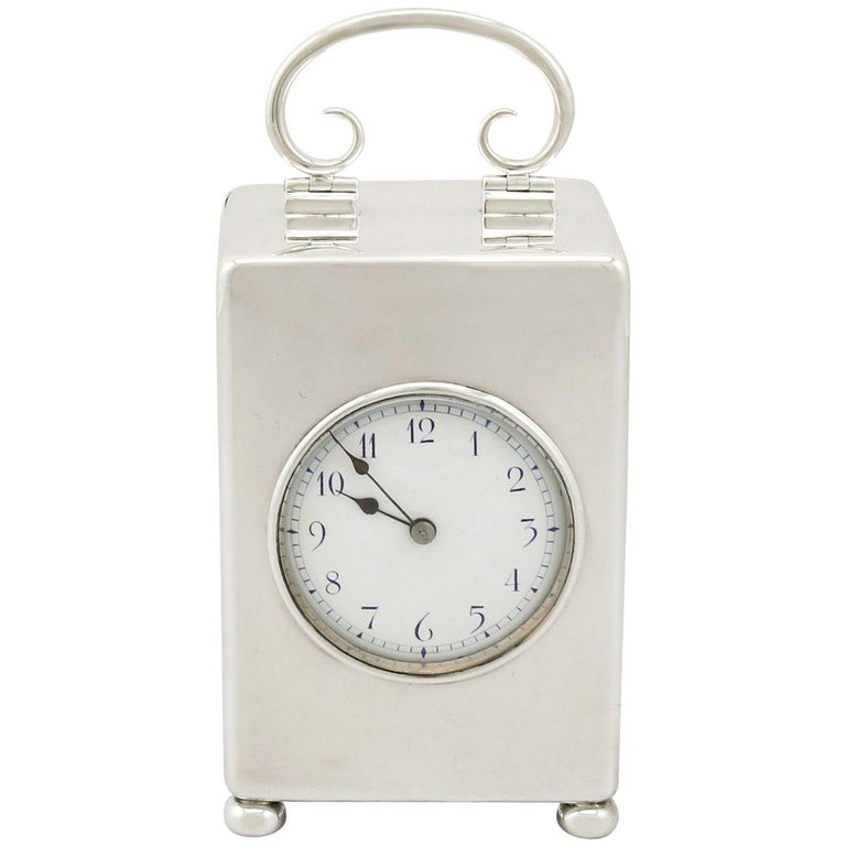 Antique Edwardian 1900s Sterling Silver Carriage Clock