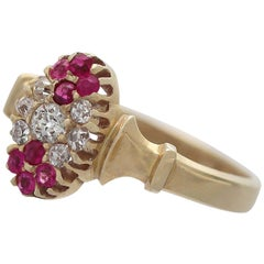 Antique Edwardian 1905 Diamond Ruby Gold Cocktail Ring