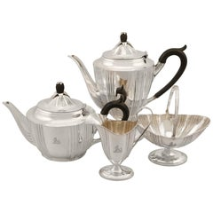 Antique Edwardian 1906 Sterling Silver Four Piece Tea Service