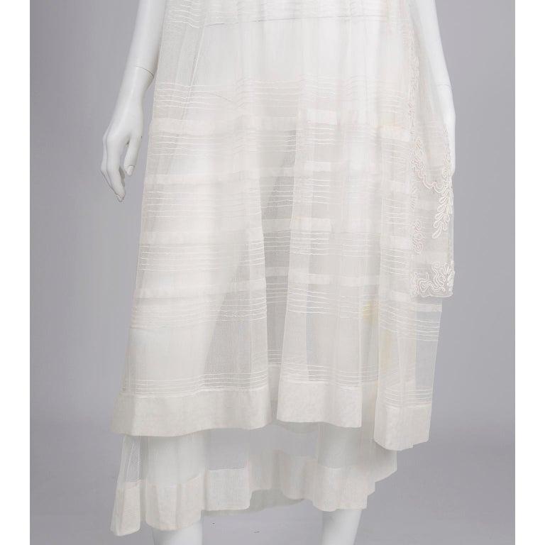 Antique Edwardian 1910s Vintage Ivory Net Tulle Dress W Soutache Embroidery Trim For Sale 6