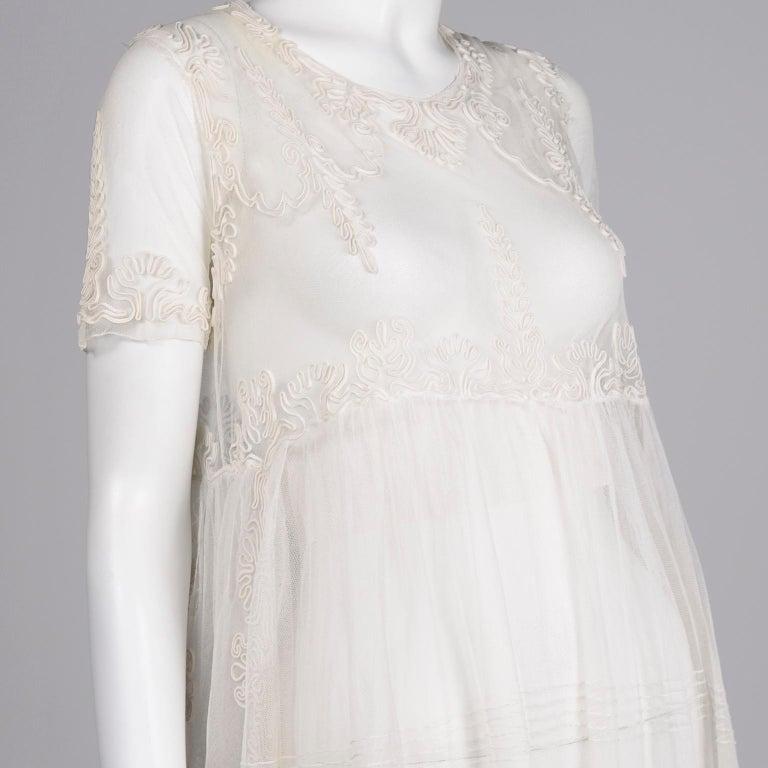 Antique Edwardian 1910s Vintage Ivory Net Tulle Dress W Soutache Embroidery Trim For Sale 7