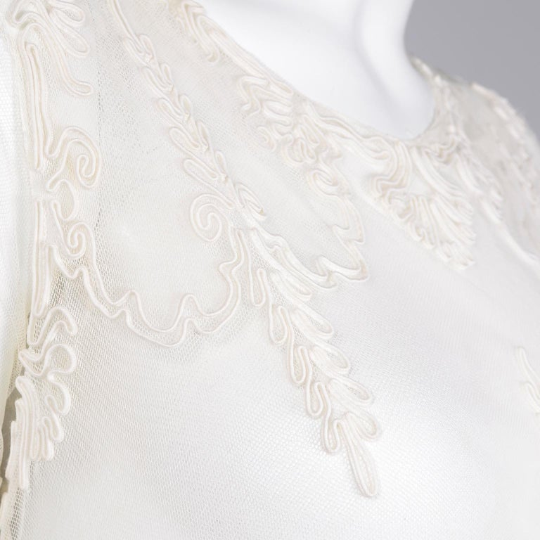 Antique Edwardian 1910s Vintage Ivory Net Tulle Dress W Soutache Embroidery Trim For Sale 8