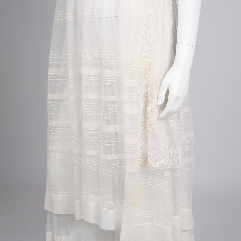 Antique Edwardian 1910s Vintage Ivory Net Tulle Dress W Soutache Embroidery Trim For Sale 9