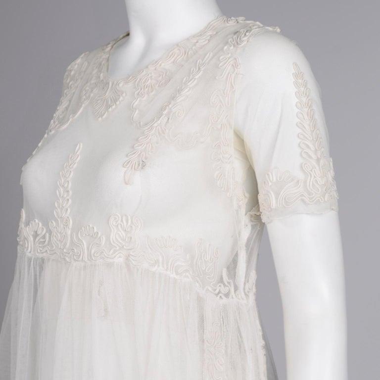 Antique Edwardian 1910s Vintage Ivory Net Tulle Dress W Soutache Embroidery Trim For Sale 10