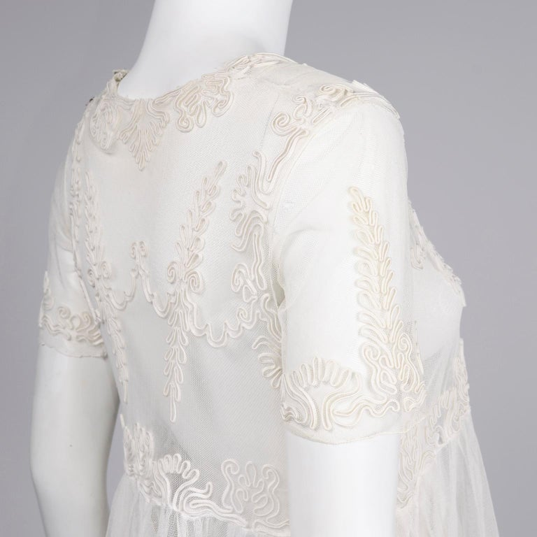 Antique Edwardian 1910s Vintage Ivory Net Tulle Dress W Soutache Embroidery Trim For Sale 11