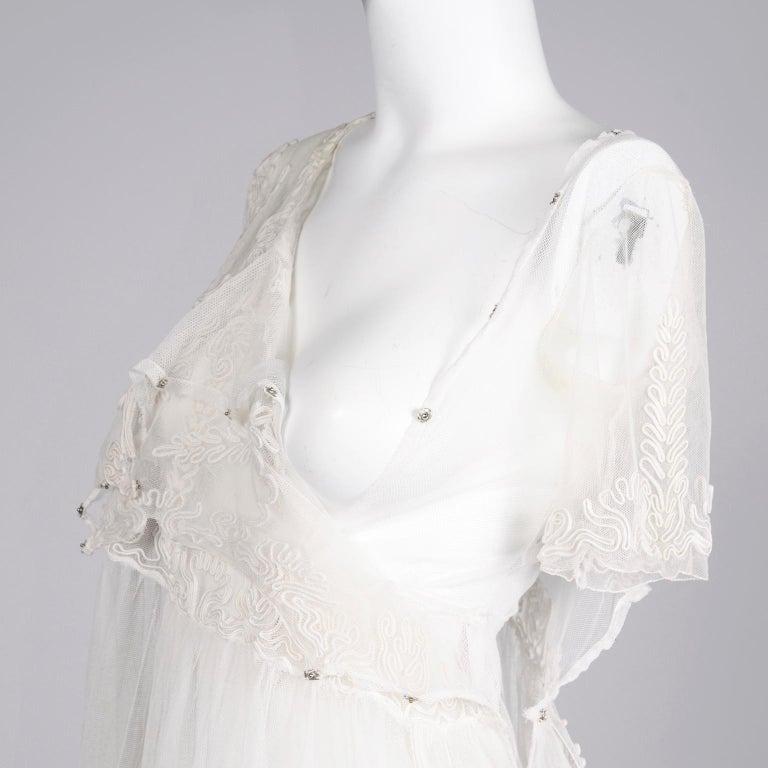 Antique Edwardian 1910s Vintage Ivory Net Tulle Dress W Soutache Embroidery Trim For Sale 12