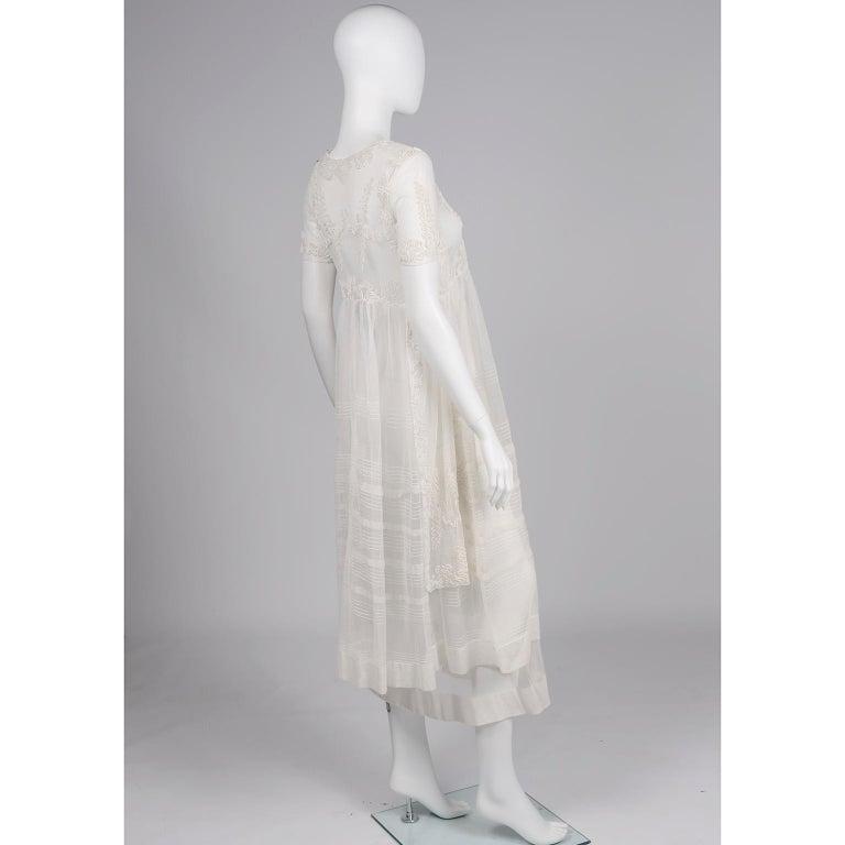 Women's or Men's Antique Edwardian 1910s Vintage Ivory Net Tulle Dress W Soutache Embroidery Trim For Sale