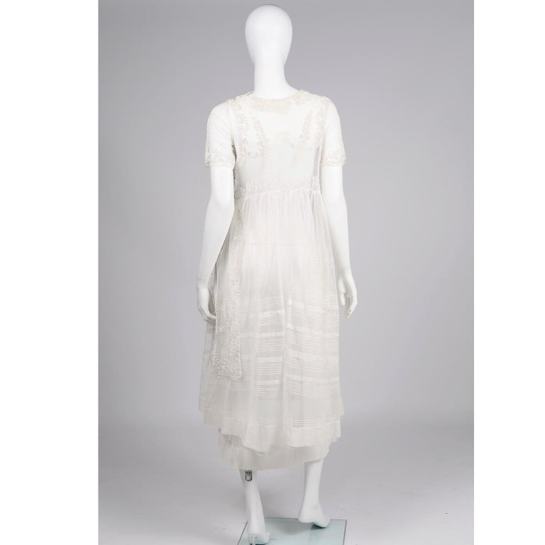 Antique Edwardian 1910s Vintage Ivory Net Tulle Dress W Soutache Embroidery Trim For Sale 1