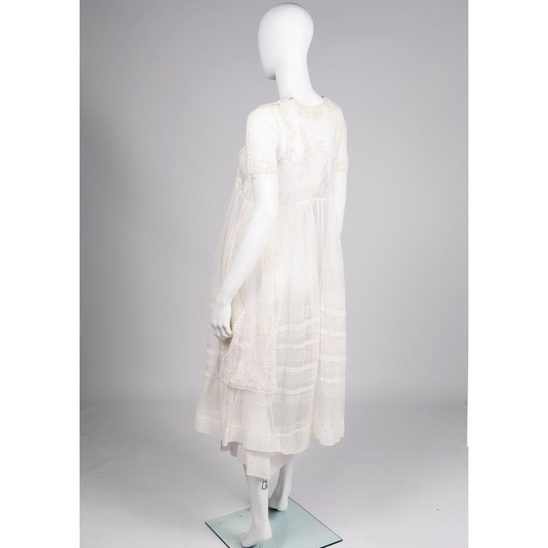 Antique Edwardian 1910s Vintage Ivory Net Tulle Dress W Soutache Embroidery Trim For Sale 2