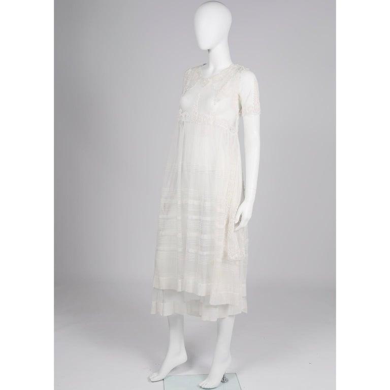 Antique Edwardian 1910s Vintage Ivory Net Tulle Dress W Soutache Embroidery Trim For Sale 3