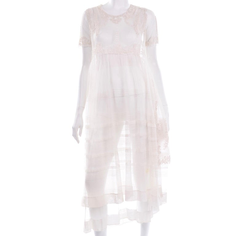Antique Edwardian 1910s Vintage Ivory Net Tulle Dress W Soutache Embroidery Trim For Sale 4
