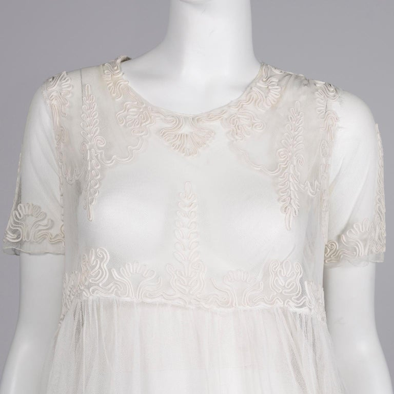 Antique Edwardian 1910s Vintage Ivory Net Tulle Dress W Soutache Embroidery Trim For Sale 5
