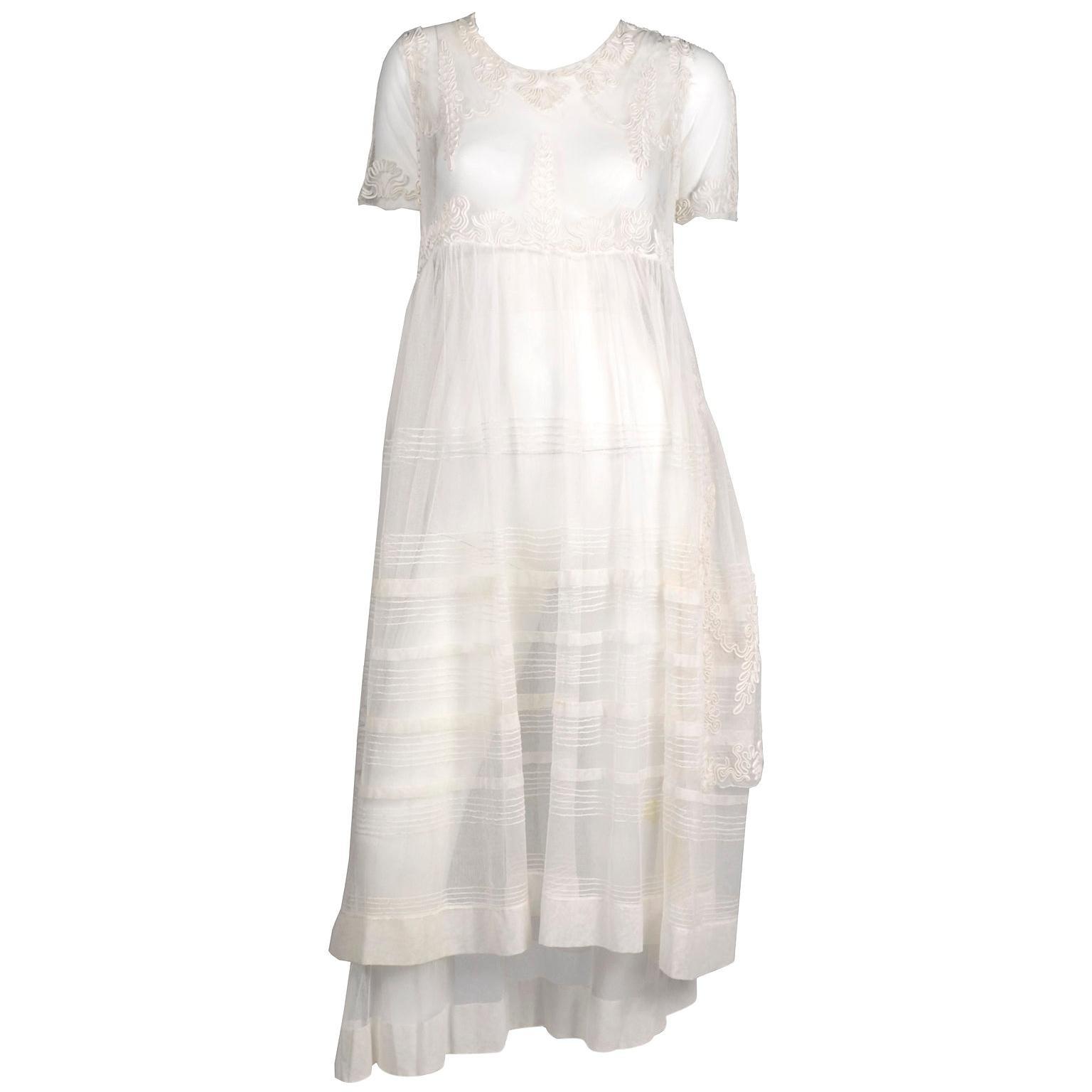 Antique Edwardian 1910s Vintage Ivory Net Tulle Dress W Soutache Embroidery Trim