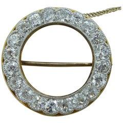 Antique Edwardian 2.25 Carat Old Cut Diamond Brooch