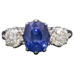 Antique Edwardian 2.40 Carat Sapphire Diamond Trilogy Ring Platinum, circa 1915