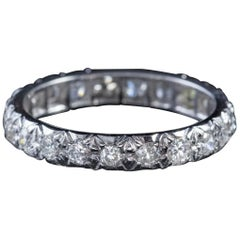 Antique Edwardian 2.50 Carat Diamond Full Eternity Ring 18 Carat White Gold