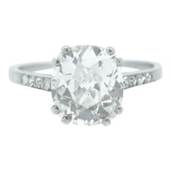Antique Edwardian 2.97 Carat Cushion Diamond Solitaire Platinum Ring