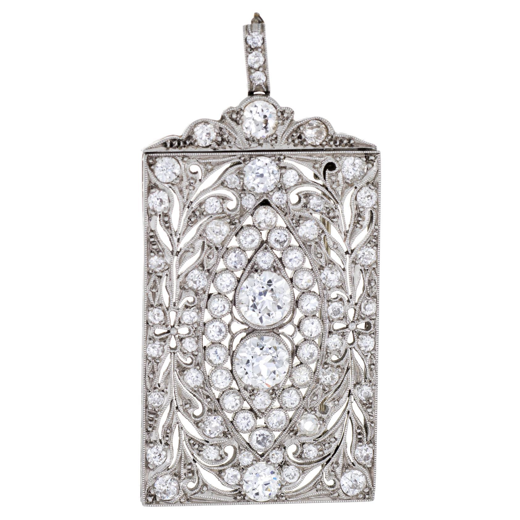 Antique Edwardian 3 Carat Diamond Pendant Brooch Platinum Vintage Fine Jewelry