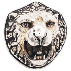 Antique Edwardian 3-D Lion Ring with Ruby Eyes in Sterling Silver