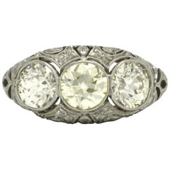Edwardian Style 3-Stone Diamond Engagement Ring 3 Carat  Filigree Dome