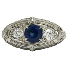 Antique Edwardian 3-Stone Sapphire Engagement Ring Diamond Filigree Trinity