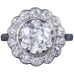 Antique Edwardian 3.62 Carat Old Cut Diamond Platinum, circa 1915 Cluster Ring