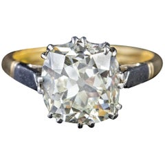 Antique Edwardian 3.88 Carat Diamond Solitaire 18 Carat Gold Platinum Ring