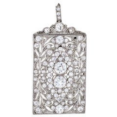Antique Edwardian 3 Carat Diamond Pendant Brooch Platinum Vintage Fine Jewelry