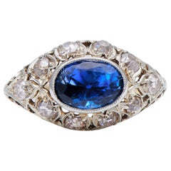 Antique, Edwardian, 3 Carat Natural Sri Lankan Sapphire and Diamond Cluster Ring