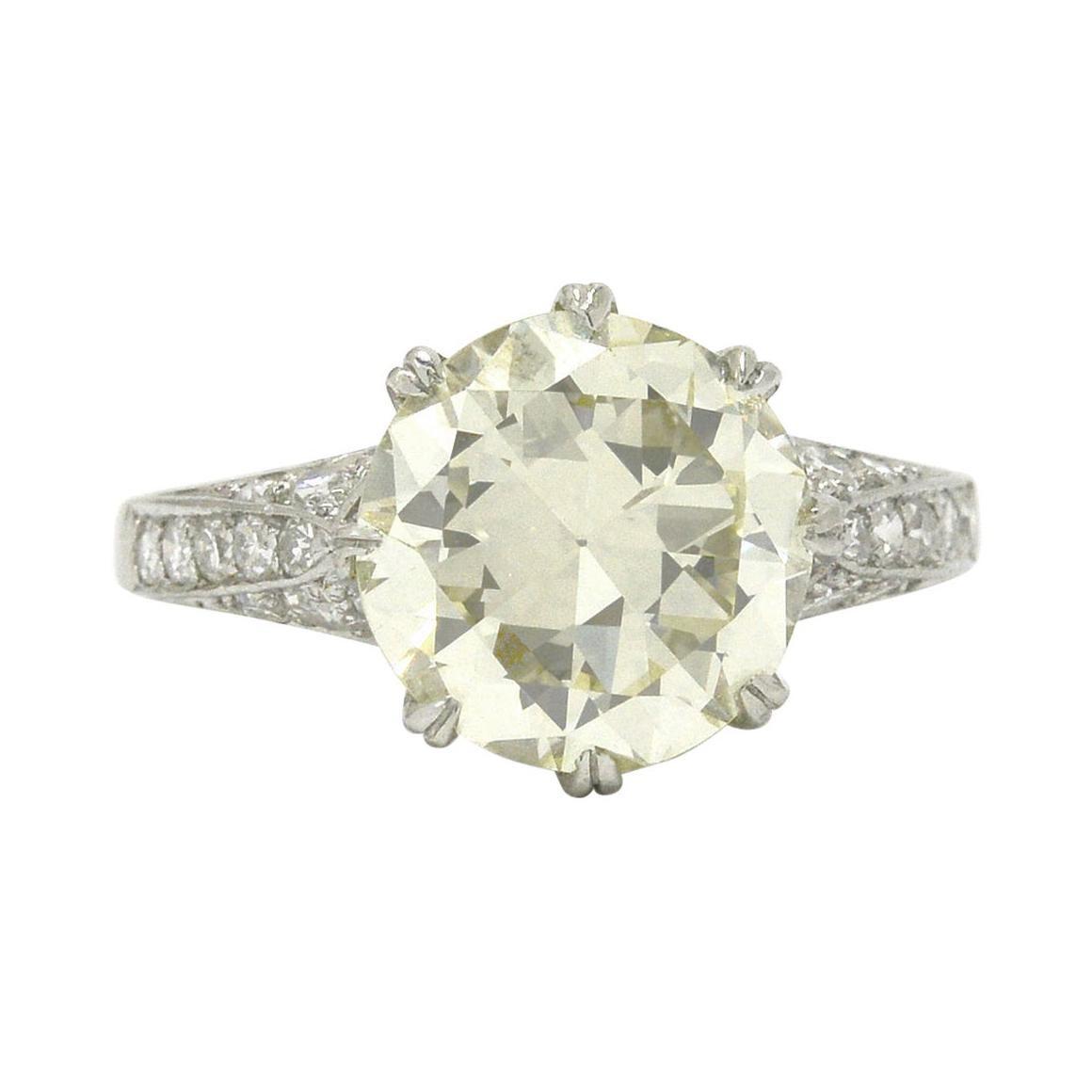 Antique Edwardian 4 Carat Solitaire Diamond Engagement Ring Old European Cut
