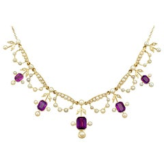 Antique Edwardian 4.47 Carat Amethyst and Seed Pearl Yellow Gold Necklace