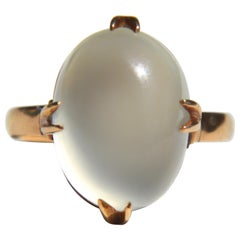 Antique Edwardian 6 Carat Moonstone 14 Karat Rose Gold Ring